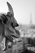 Guardian Angel Framed Prints - Gargoyle guarding the Notre Dame Basilica in Paris Framed Print by Pierre Leclerc