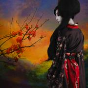 Satin Digital Art - Geisha with Quince by Jeff Burgess