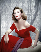 Red Dress Framed Prints - Gene Tierney, 1940s Framed Print by Everett