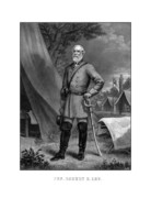 Military Hero Drawings Prints - General Robert E Lee Print by War Is Hell Store