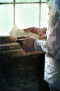 Period Clothing Prints - Gentleman in Vintage Clothing Reading a Letter Print by Jill Battaglia
