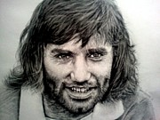 Soccer Drawings Originals - George Best by Sean Leonard