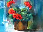 Red Geraniums Mixed Media Prints - Geranium Dreams Print by Jeff Hunter