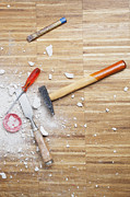 Germany, Cologne, Work Tools On Oak Floor Print by Westend61