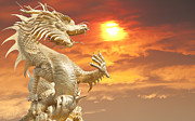 Wood Digital Art Originals - Giant golden Chinese dragon by Anek Suwannaphoom