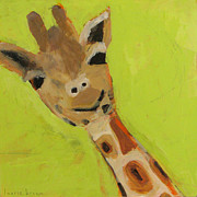 Kids Room Mixed Media Posters - Giraffe Poster by Laurie Breen