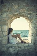 Wall Stone Wall Framed Prints - Girl At The Sea Framed Print by Joana Kruse