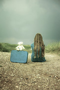 Suitcase Prints - Girl In The Dunes Print by Joana Kruse