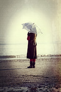 Low Tide Prints - Girl On The Beach With Parasol Print by Joana Kruse