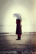 Girl On The Beach With Parasol Print by Joana Kruse