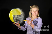 Popping Photos - Girl Popping A Balloon by Ted Kinsman