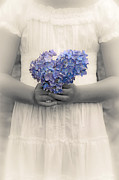 White Dress Prints - Girl With Hydrangea Print by Joana Kruse