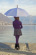 Lake Maggiore Posters - Girl with umbrella Poster by Joana Kruse