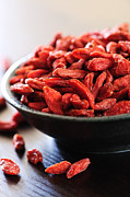 Dried Framed Prints - Goji berries Framed Print by Elena Elisseeva