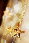 Abstract Stars Framed Prints - Golden Christmas stars Framed Print by Kati Molin
