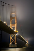 Coastal Landscapes Posters - Golden Gate Bridge at Night Poster by Mike Irwin