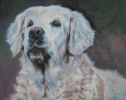 Golden Retriever Paintings - Golden Retriever Portrait by Lee Ann Shepard