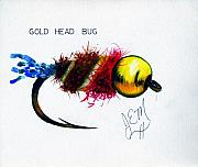 Fly Fishing Mixed Media Prints - Goldhead Bug Print by James Eugene  Moore