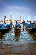 Cobblestones Posters - Gondolas at Piazza San Marco Venice Poster by Gordon Wood