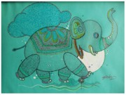 Good Luck Painting Metal Prints - Good Luck Elephant Metal Print by Abhishek Sharma