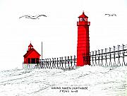 Lighthouse Drawings - Grand Haven Lighthouse by Frederic Kohli