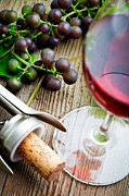 White Grape Photos - Grapes and red wine by Kati Molin
