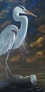 Great Blue Heron Paintings - Great Blue Heron by Kathleen Tucker