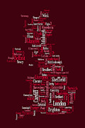 Wales Digital Art Framed Prints - Great Britain UK City Text Map Framed Print by Michael Tompsett