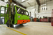 Compressed Natural Gas Acrylic Prints - Green Garbage Truck Maintenance Acrylic Print by Don Mason
