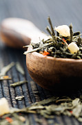 Wooden Bowl Photos - Green tea by Kati Molin