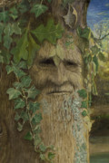 Fantasy Tree Art Paintings - Greenman by Joyce Gibson