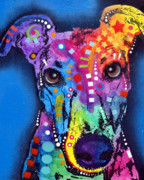 Colorful Animal Paintings - Greyhound by Dean Russo