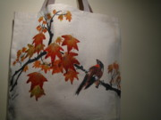Fabric Mixed Media - Hand-painted tote bag by Anita Lau
