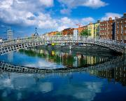 Village In Europe Framed Prints - Hapenny Bridge, River Liffey, Dublin Framed Print by The Irish Image Collection