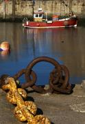 Chained Prints - Harbour With Mooring And Fishing Boat Print by John Short