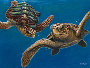 Sea Turtles Pastels - Hattie and a friend by Deb LaFogg-Docherty