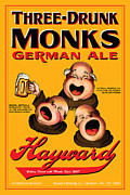 Beer Drawings Prints - Hayward Three Drunk Monks Print by John OBrien