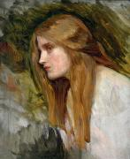 Woman Head Framed Prints - Head of a Girl Framed Print by John William Waterhouse
