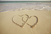 Edge Prints - 2 Hearts Drawn On The Beach Print by Gen Nishino
