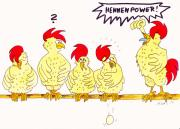 Chicken Drawings - Hennenpower by Michaela Bautz