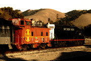 Caboose Prints - Historic Niles Trains in California . Old Southern Pacific Locomotive and Sante Fe Caboose . 7D10843 Print by Wingsdomain Art and Photography
