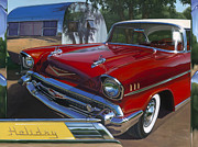 57 Chevy Painting Framed Prints - Holiday Framed Print by Lucretia Torva
