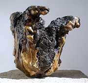 Indoor Ceramics - Hypertufa primitive pottery sculptures by Randy Stewart