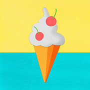 Ice Cream Illustration Prints - Ice Cream On Hand Made Paper Print by Setsiri Silapasuwanchai