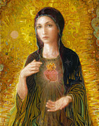 Realism Painting Prints - Immaculate Heart of Mary Print by Smith Catholic Art