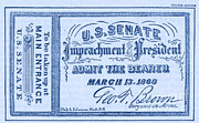 Ticket Prints - Impeachment Ticket, 1868 Print by Photo Researchers