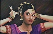 Usha Rai Framed Prints - Indian Dancer Framed Print by Usha Rai