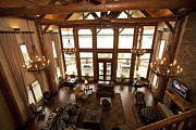 Arkansas Framed Prints - Interior of Large Wooden Lodge Framed Print by Will and Deni McIntyre