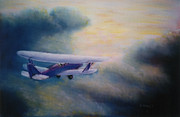 Vintage Aircraft Paintings - Into The Sunset by Harold Kirby