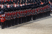 Dress Uniform Posters - Irish Guards March Pass During The Last Poster by Andrew Chittock